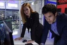 Jennifer Finnigan and Santiago Cabrera consult the oracle TESS:  Salvation/CBS