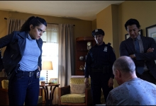 Sepideh Moaf and Will Yun Lee confront the  perp in Falling Water /USA Network