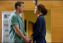 Michael Shanks and Erica Durance share a moment on Saving Hope for CTV