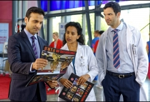 Huse Madhavji, Glenda Braganza and Benjamin Ayres in Saving Hope for CTV