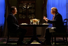 Jeff Daniels as James Comey and Brendan Gleeson as President Donald Trump in The Comey Rule for Showtime